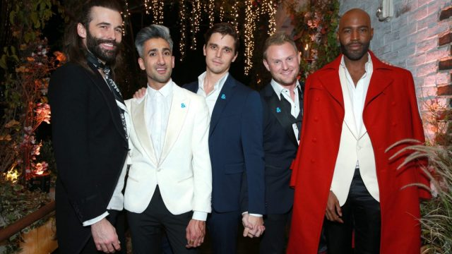 The 'fab five' - Jonathan Van Ness, Tan France, Antoni Porowski, Bobby Berk, and Karamo Brown from Queer Eye (Rich Fury/Getty Images for Netflix)
