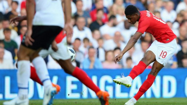 Marcus Rashford opens the scoring for England with a 25-yard super strike (Getty)