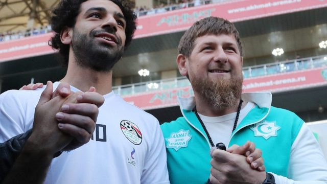 Liverpool's star striker Mohamed Salah (L) poses with head of the Chechen Republic Ramzan Kadyrov during training in Grozny ahead of the Russia 2018 World Cup (Getty Images)