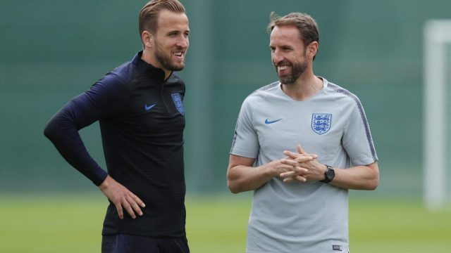 England manager Gareth Southgate and captain Harry Kane on 13 June 2018 in Saint Petersburg, Russia.