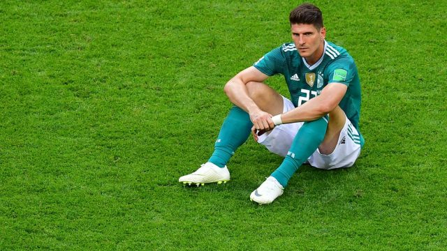 Mario Gomez looks crestfallen after Germany's shock World Cup exit (Getty)