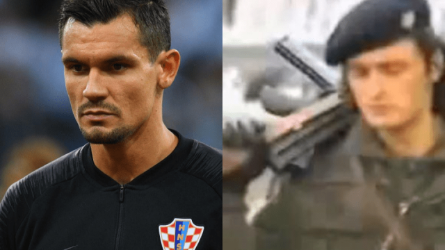 Croatia and Liverpool defender Dejan Lovren (left) and a still from the video to Bojna Cavoglave by Thompson, the song he was singing (Photo: Getty/YouTube)