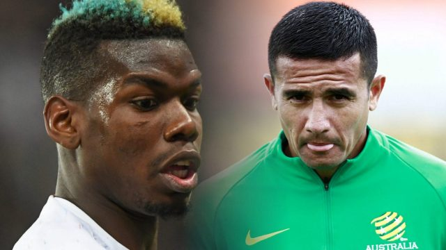 Paul Pogba of France and Tim Cahill of Australia ahead of the World Cup group stage match between the two countries. (Getty)