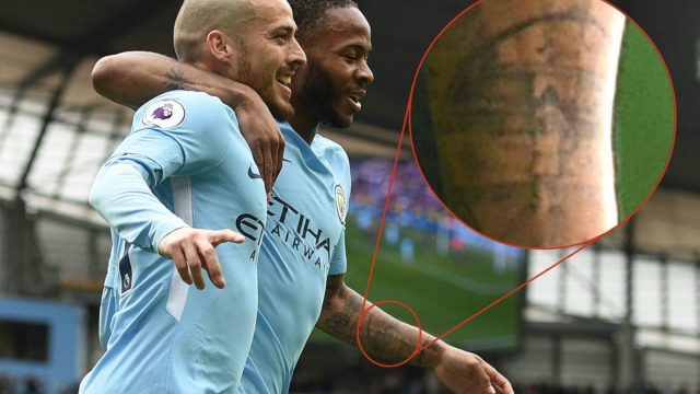 The tattoo on Raheem Sterling's left forearm shows a young boy wearing a No 10 shirt in the shadow of Wembley Stadium (AFP/Getty Images)
