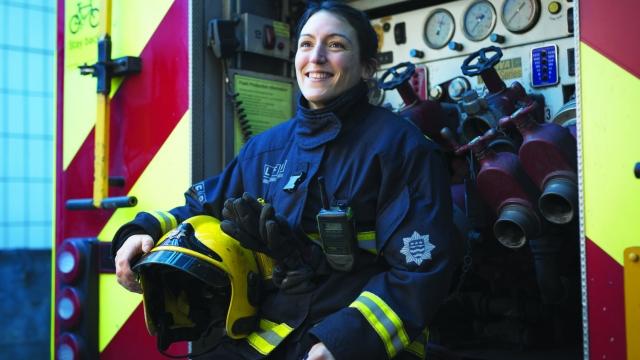 Firefighter Leoni Munslow, pictured at Tooting Firestation in London (Jason Alden)