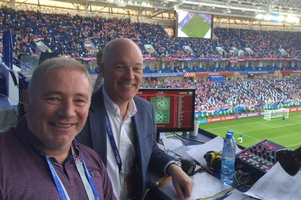 Ally McCoist alongside Jon Champion at the World Cup