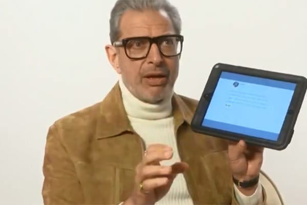 Article thumbnail: Jeff Goldblum was tasked with reading out Scottish tweets