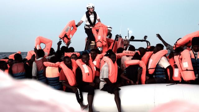 Humanitarian group SOS Mediterranee said there were 123 minors on board the Aquarius ship (SOS Mediterranee)