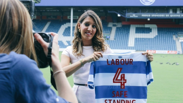 Dr Rosena Allin-Khan visits QPR gound Loftus Road to announce Labour's plan to bring safe standing to the top two tiers of English football