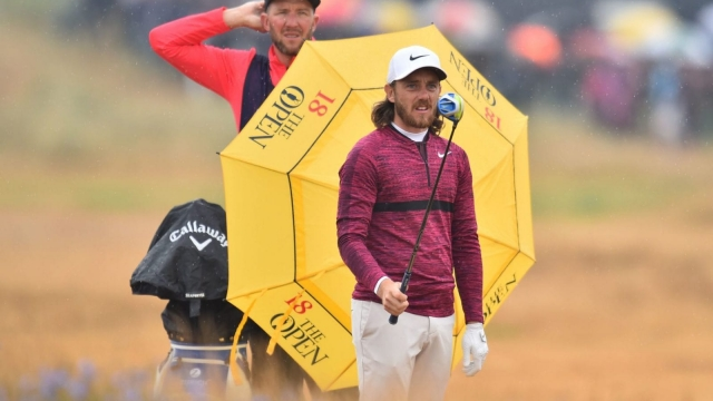 On the march: Tommy Fleetwood en route to a second round 65 at the 147th Open golf Championship at Carnoustie (Getty Images)