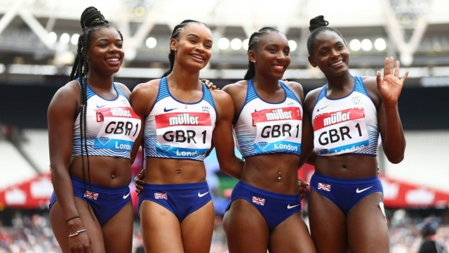 Asha Philip, Imani-Lara Lansiquot, Bianca Williams and Daryll Neita of Great Britain pose for a photo following the Women's 4x100m Relay during Day Two of the Muller Anniversary Games (Photo: Getty)