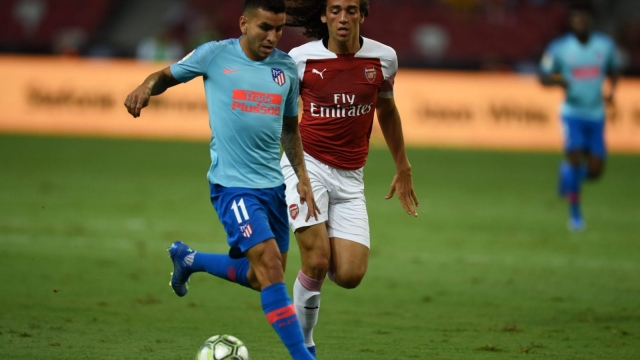 Matteo Guendouzichases Angel Correa during Arsenal's pre-season game against Atletico Madrid in Singapore (Getty Images)