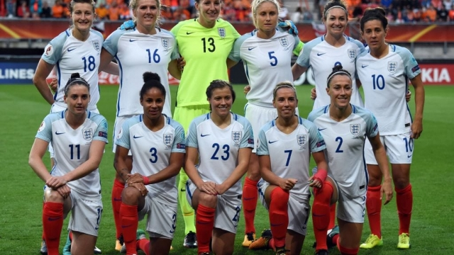 Ellen White, Millie Bright, Siobhan Chamberlain, Steph Houghton, Jodie Taylor, Fara Williams, (bottom row) Jade Moore, Demi Stokes, Francesca Kirby, Jordan Nobbs and Lucy Bronze ahead of the Euro 2017 semi-final. They'll hope to go on a World Cup run in the women's tournament at France 2019. (Getty)