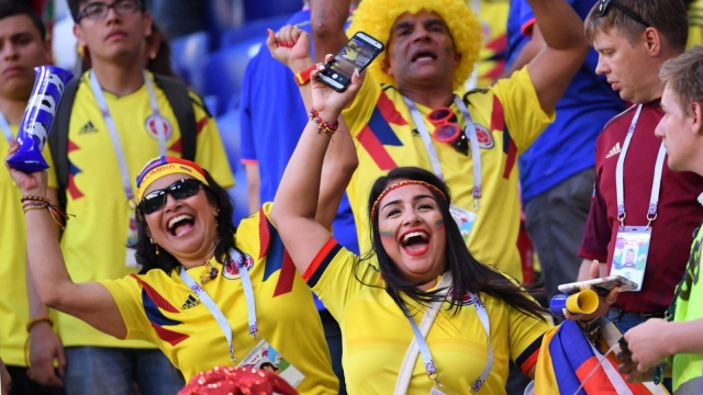 Colombia fans celebrate the win over Senegal