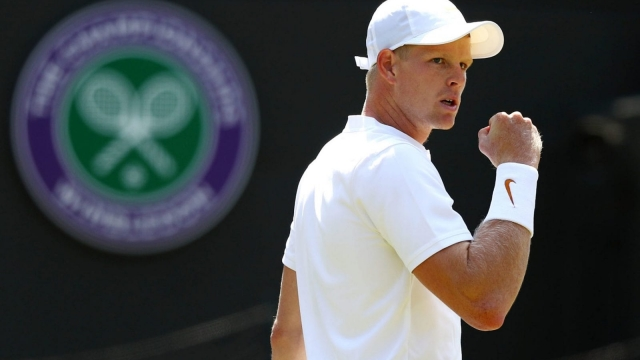 Kyle Edmund celebrates another winner during his 6-1 6-3 7-5 first round victory over Alex Bolt of Australia (Getty Images)