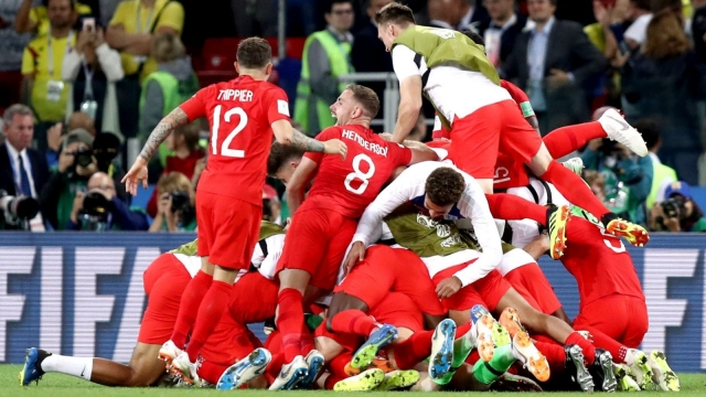 England players celebrate their penalty shootout win over Colombia at Spartak Stadium, Moscow on Tuesday night