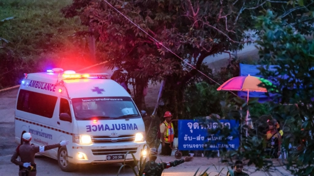 Two ambulances carrying the sixth & seventh boys out of Tham Luang Nang Non cave site continuously to a hospital in Chiang Rai in Thailand ([Photo: Getty)