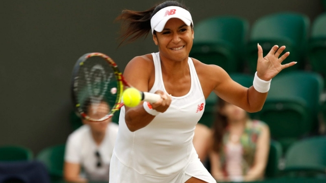 Heather Watson claimed she did not swear during his ladies double defeat on Wednesday (Getty)