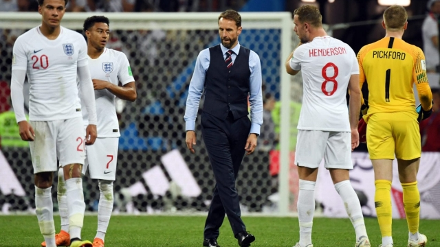England manager Gareth Southgate and his players look dejected after suffering extra-time heartbreak against Croatia (Getty Images)