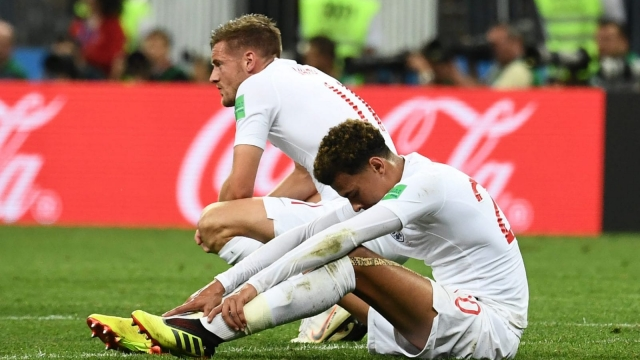 England's forward Jamie Vardy and midfielder Dele Alli after the full-time whistle blows. (AFP/Getty Images)