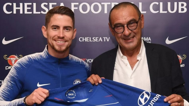 Maurizio Sarri (right) was unveiled as the new Chelsea manager on Friday, bringing former Napoli midfielder Jorginho with him (Picture: Chelsea FC)