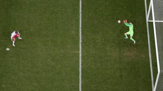 Croatia's goalkeeper Danijel Subasic saves the penalty of Denmark's Lasse Schone in the last-16 World Cup game