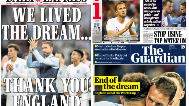 A collection of front pages after England loses to Croatia in the World Cup.