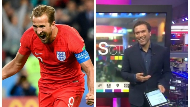 A BBC presenter found his report interrupted by yelps from the BBC office about England's penalty shootout with Colombia. (Getty / BBC)