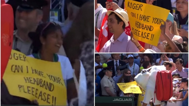 Roger Federer gives a fan his headband after spotting a sign in the Centre Court crowd in the first round at Wimbledon 2018. (YouTube/Wimbledon)