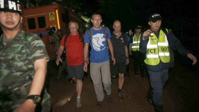 The British Cave Rescue Council members from second left, Robert Charles Harper, John Volanthen and Richard William Stanton(Photo: Sakchai Lalit/AP)