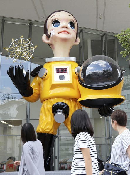 The Sun Child, a 6.2-meter statue clad in a protective suit, near JR Fukushima Station in northeastern Japan on Aug. 12, 2018. The statue, created by contemporary artist Kenji Yanobe, has sparked criticism that it gives the impression that Fukushima residents need such gear after the 2011 nuclear crisis. (Photo: Getty)