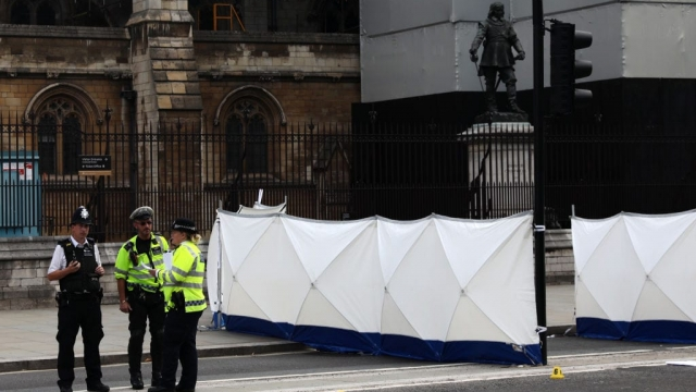Police and forensic officers at the scene where a vehicle crashed into security barriers injuring a number of pedestrians early this morning outside the Houses of Parliament (Photo: Getty)