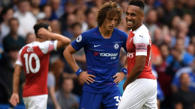 Pierre-Emerick Aubameyang of Arsenal reacts to one of his numerous missed chances against Chelsea. (Getty Images)