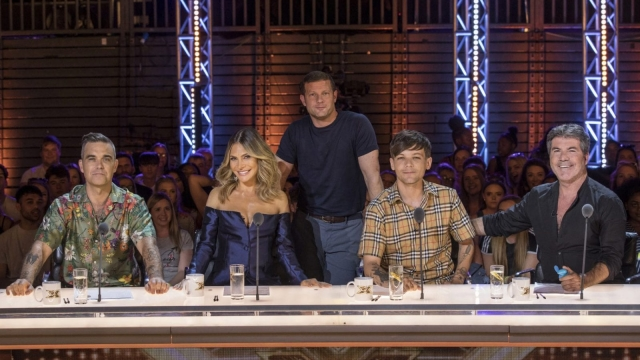 Robbie Williams, Ayda Field, Dermot O'Leary, Louis Tomlinson and Simon Cowell