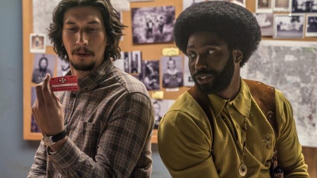 Adam Driver stars as Flip Zimmerman and John David Washington as Ron Stallworth (Credit: David Lee / Focus Features)