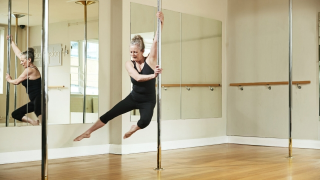 Theresa Truscott says pole-dancing has helped her maintain her weight, tone up and strengthen her core (Photo: Theresa Truscott)
