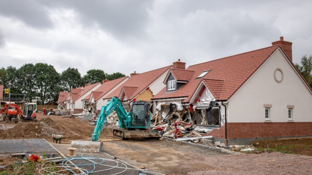 The row of houses knocked down by a disgruntled worker in Buntingford, Hertfordshire (Photo: SWNS)