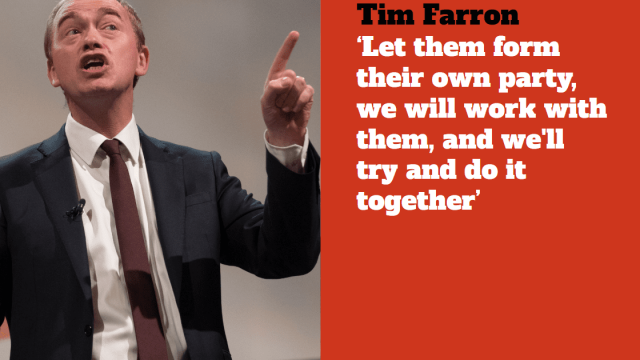 Tim Farron urged pro-EU Tory and Labour MPs to leave their respective parties (Getty)