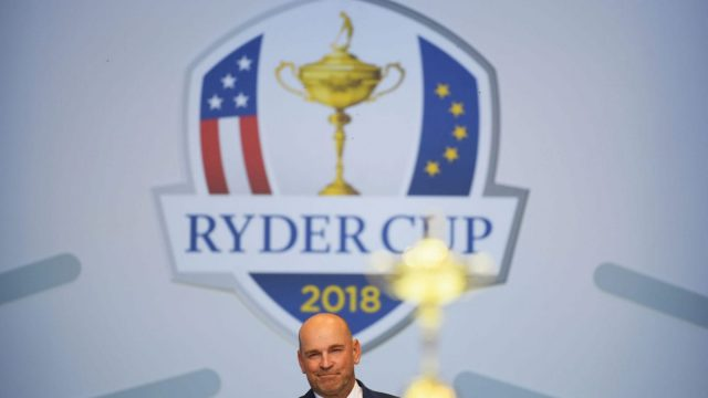 Captain Thomas Bjorn of Europe speaks during the opening ceremony for the 2018 Ryder Cup at Le Golf National