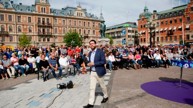 Jimmie Akesson, leader of the Sweden Democrats, campaigns in Sundsvall, Sweden, on August 17, 2018. (AFP/Getty)