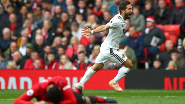 Joao Moutinho of Wolverhampton Wanderers celebrates after equalising against Jose Mourinho's Manchester United (Getty Images)