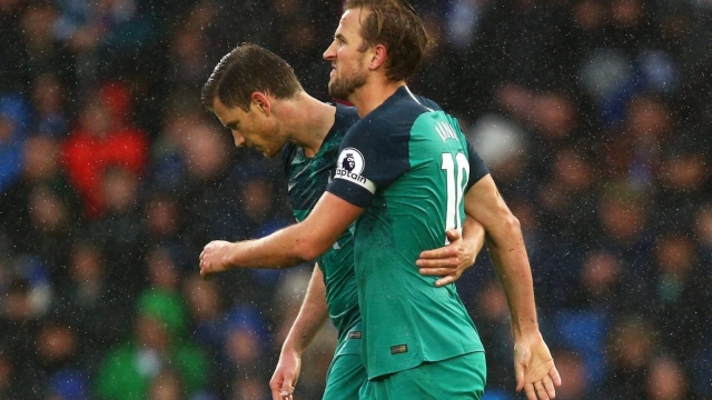 Harry Kane of Tottenham Hotspur celebrates scoring a penalty against Brighton (Getty Images)