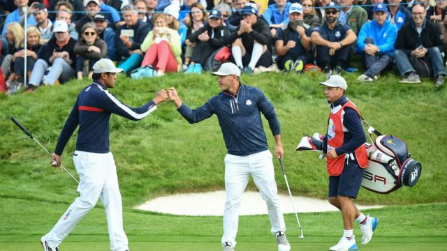 USA's Tony Finau and Brooks Koepka beat Europe's Justin Rose and Jon Rahm on the 18th but a huge stroke of luck on the 16th had a huge part to play (Getty Images)