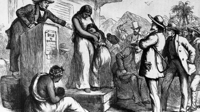 An old picture of a slave auction in America.