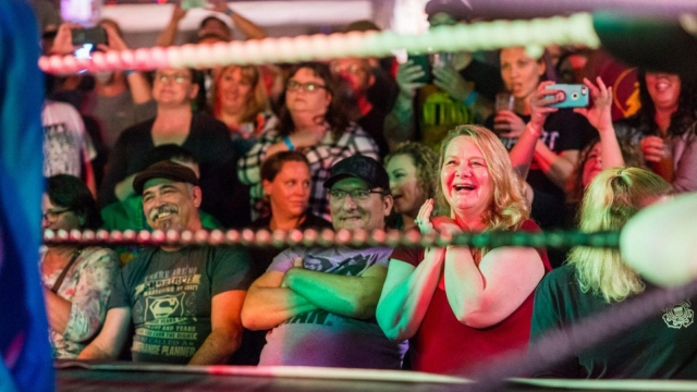 A crowd member cheers as Lil Mario gets on stage at Johnson's Station in Picayune, Ms., on Feb. 11, 2018 (AFP/Getty Images)