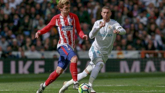 Antoine Griezmann and Sergio Ramos in La Liga action in April (Getty Images)