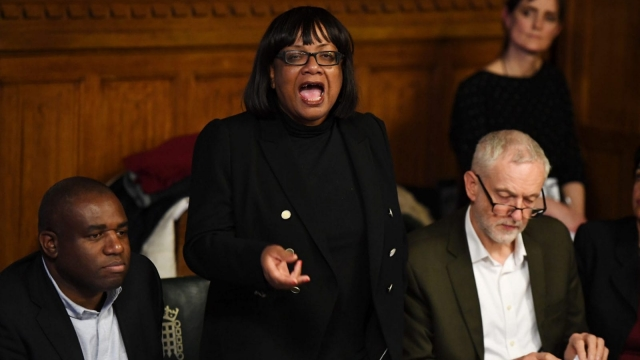 Shadow Home Secretary Diane Abbott speaks during a meeting with representatives of the Windrush generation. Photo: Getty