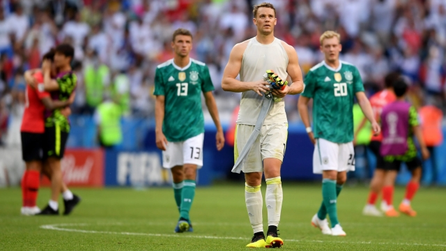 Germany players trudge off the pitch after defeat to South Korea at the World Cup (Getty Images)