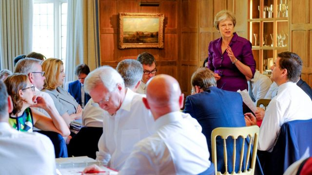 Prime Minister Theresa May and members of her Cabinet meet at her country retreat Chequers on 6 July 2018 in Aylesbury, England (Crown Copyright via Getty Images)