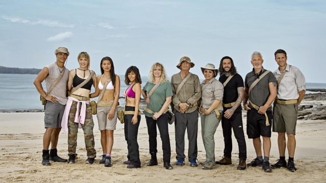 The cast of Celebrity Island with Bear Grylls on Channel 4